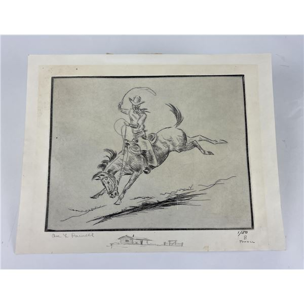 Ace Powell Etching Bucking Bronc