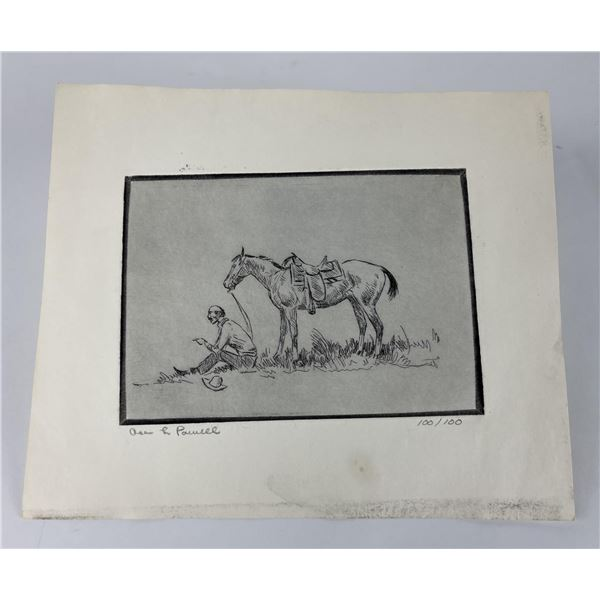 Ace Powell Etching Cowboy and Horse