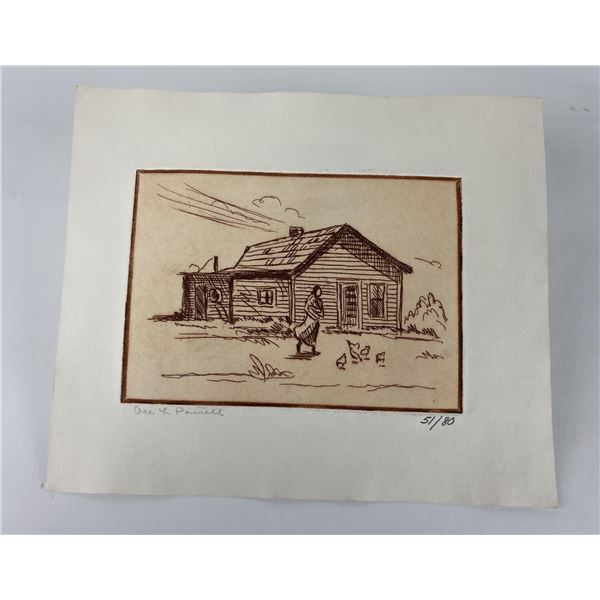 Ace Powell Etching Sepia tone Frontier Cabin