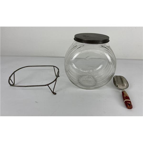 Sellars Hoosier Sugar Jar w/ Lid and Stand