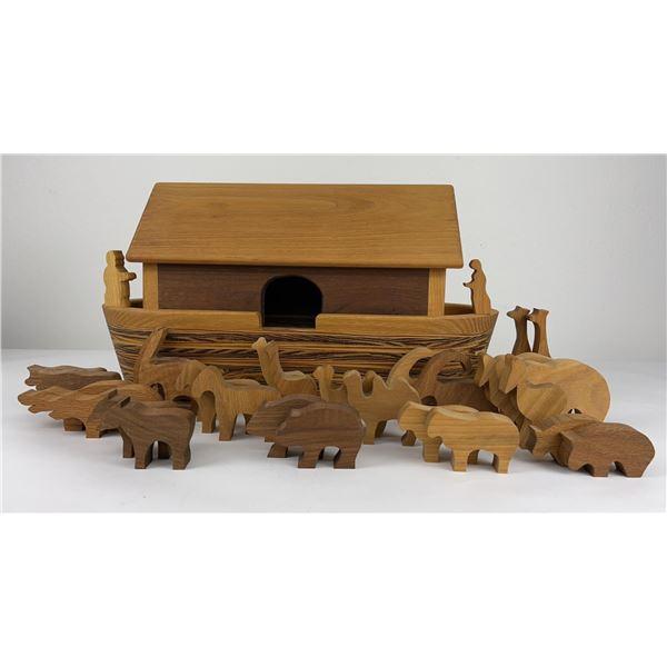 Mid Century Danish Wood Noah's Ark and Animals