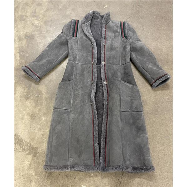 Full Length Grey Shearling Marlboro Man Jacket