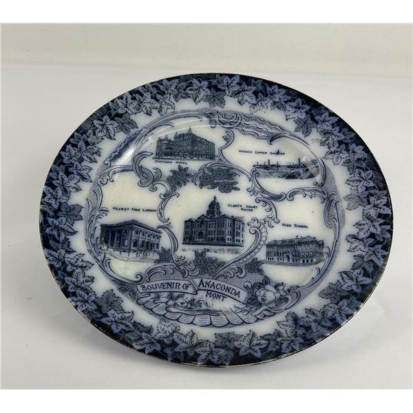 Antique Anaconda Montana Flow Blue Plate