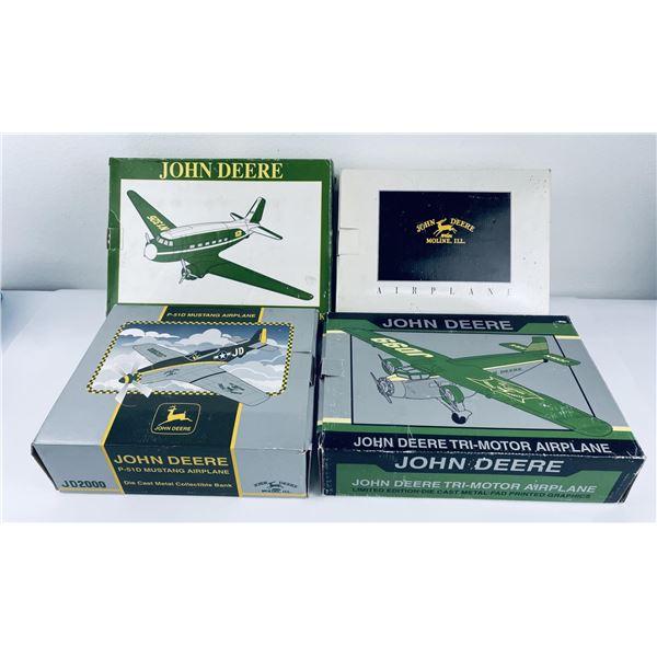 Lot of 4 John Deere Die Cast Airplane Banks
