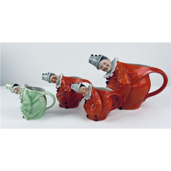 4 Antique Royal Bayreuth Clown Pitcher Creamers