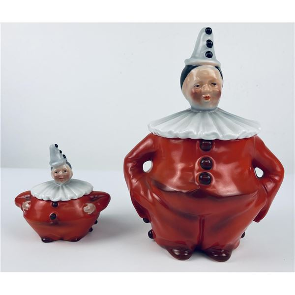 Antique Royal Bayreuth Clown Lidded Cansiters