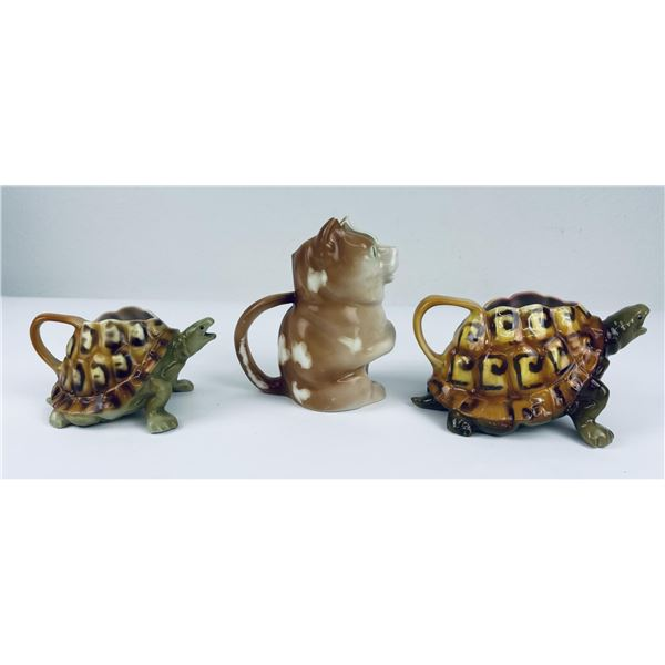 Antique Royal Bayreuth Turtle and Cat Creamers