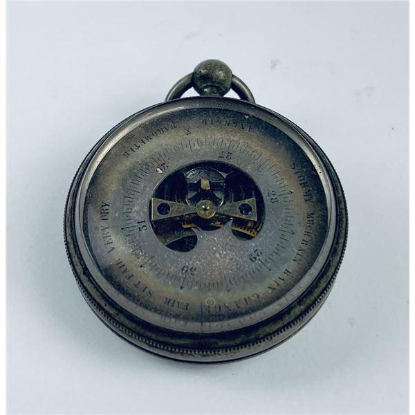 Antique Aneroid Pocket Barometer Silver Case
