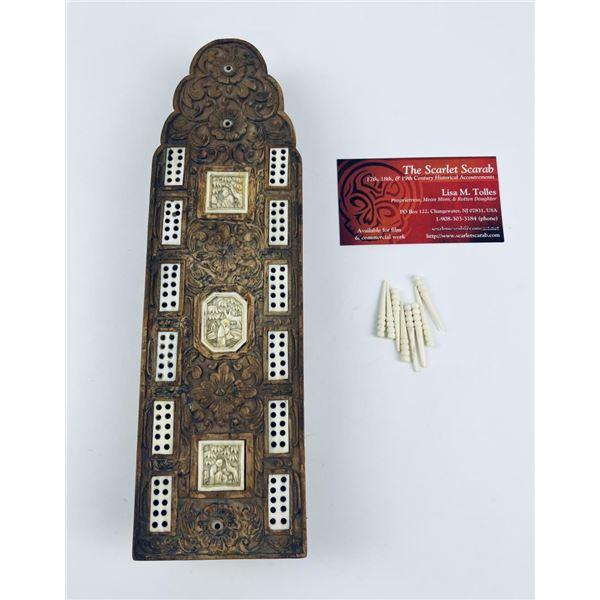 Antique Chinese Sandalwood Cribbage Board