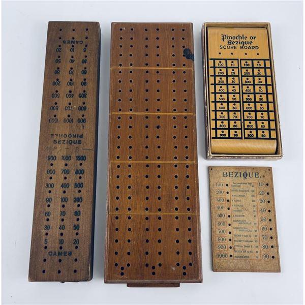 Lot of Antique Bezique Boards