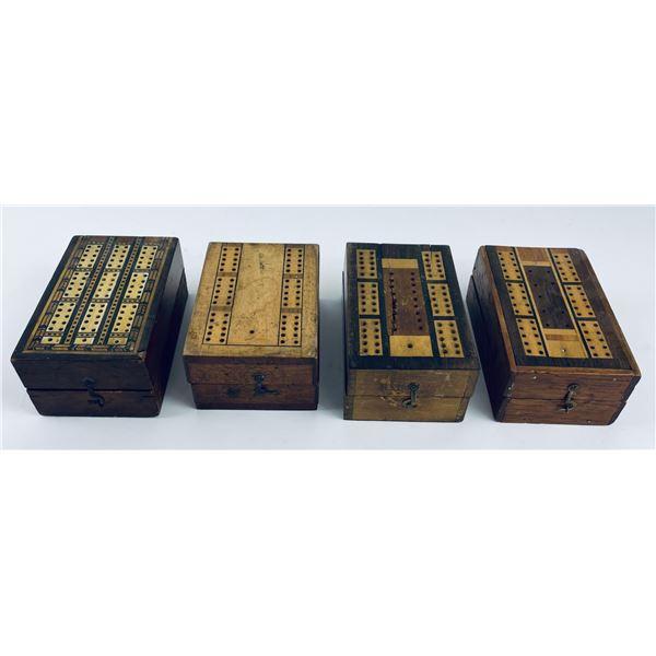 Antique Victorian Travel Cribbage Boards