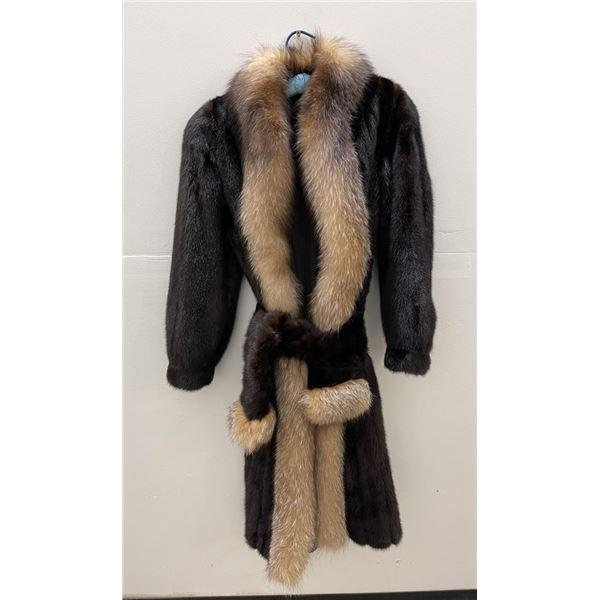 Magnificent Black Mink and Lynx Fur Coat