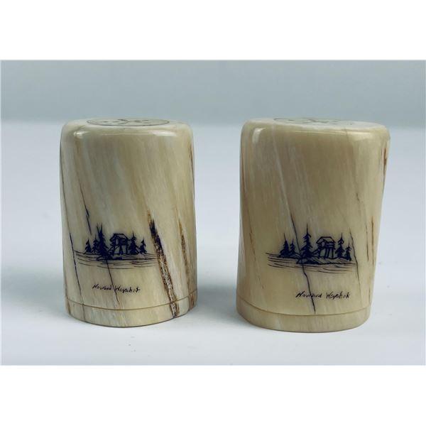 Alaskan Inuit Scrimshaw Fossil Walrus S&P Shakers