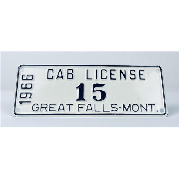 Rare 1966 Great Falls Montana Cab License Plate