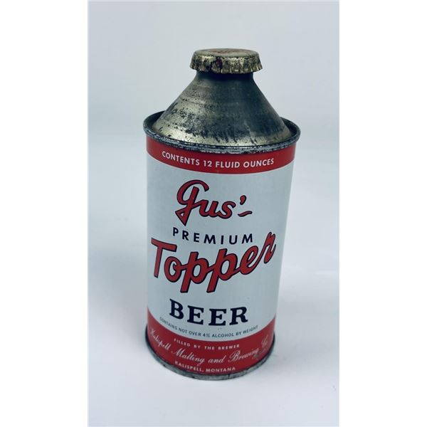 Gus Topper Kalispell Montana Cone Top Beer Can