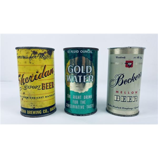 Lot of 3 Beer Cans Becker's Gold Water Sheridan