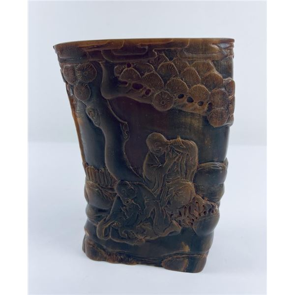 Chinese Carved Ox Horn Brush Pot