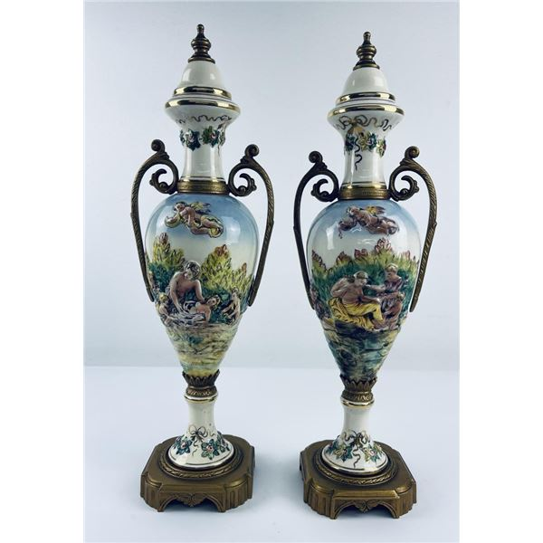 Pair of Antique Chinese Export Pottery Urns