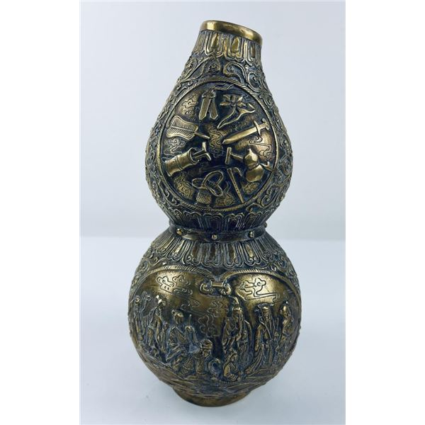Antique Chinese Gourd Form Bronze Vase