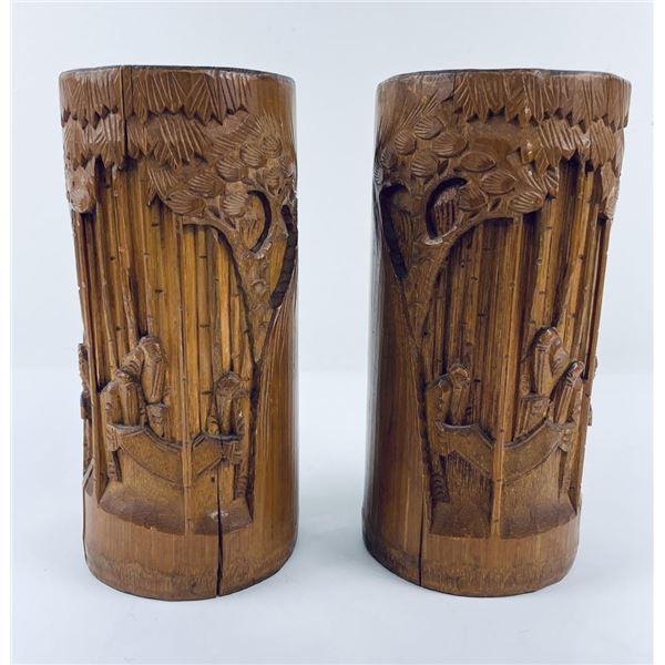 Pair of Antique Chinese Bamboo Brush Pots