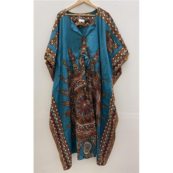 Vintage 1970's Ethnic Pattern Robe Gown