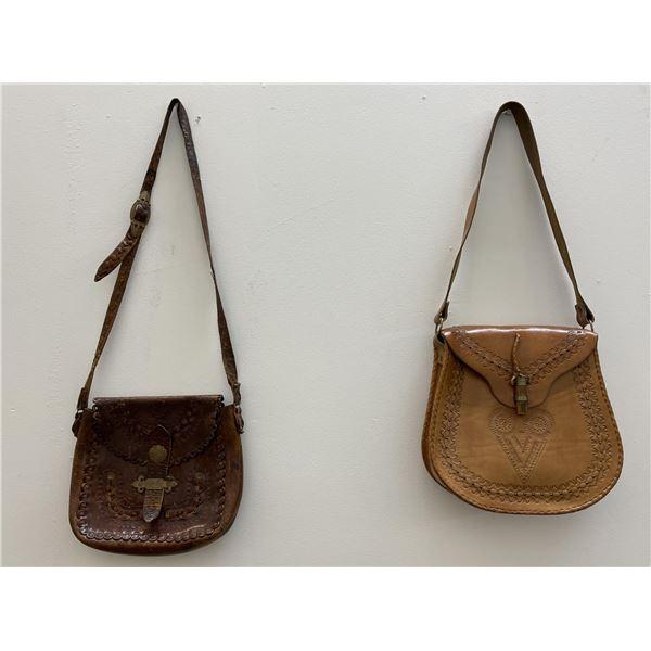 Pair of Vintage Bohemian Leather Satchels