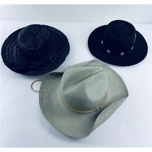 Lot of 3 Vintage Ladies Western Hats