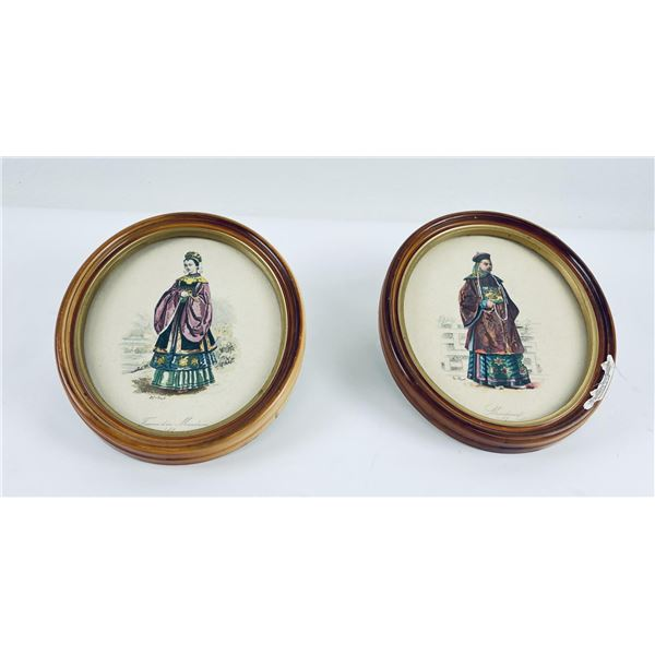 Pair of Mandarin Chinese Man Woman Lithographs