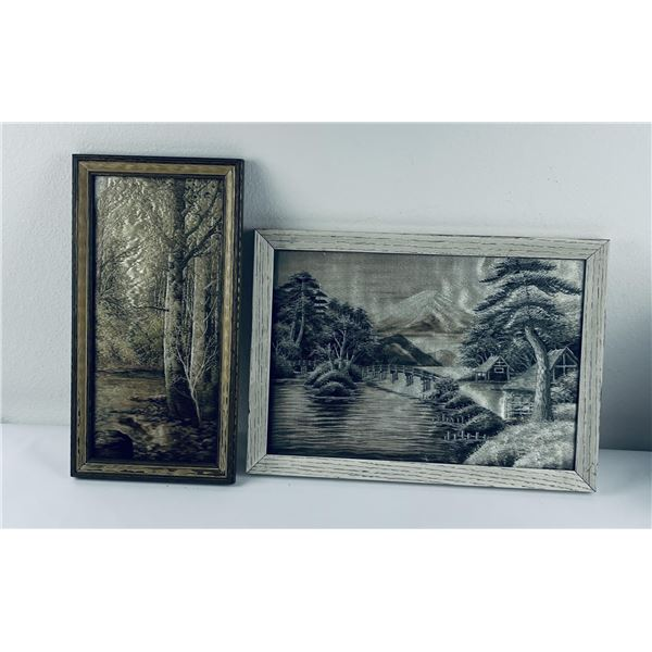 Pair of Antique Silk Embroidered Pictures