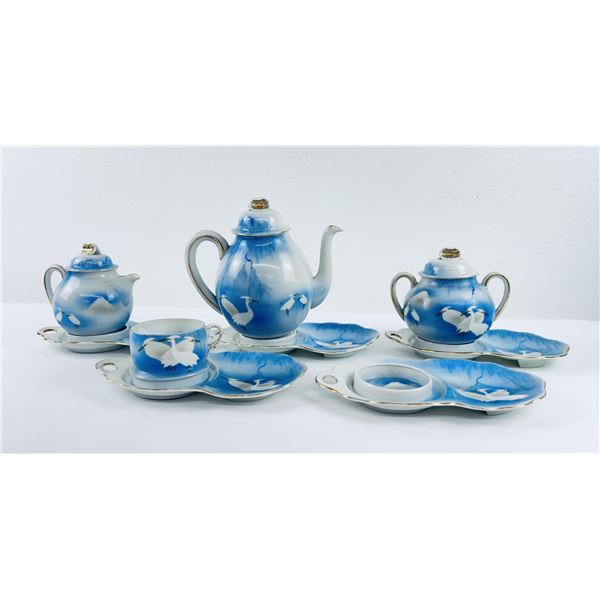 Japanese Demitasse Tea Set Storks
