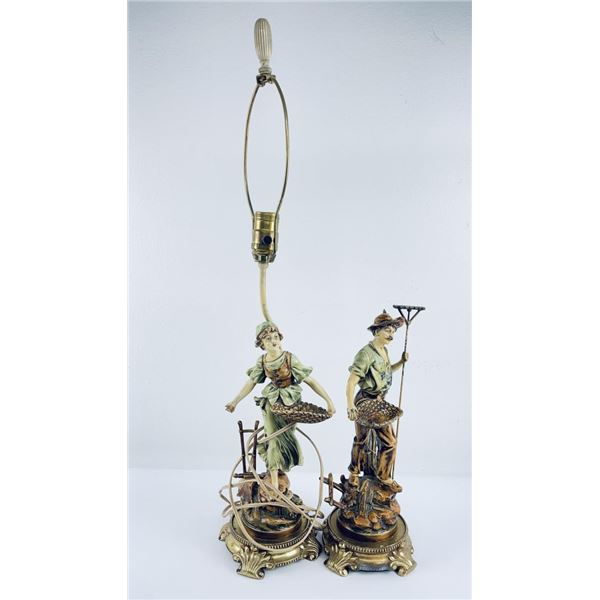 Pair of Austrian Cold Painted Spelter Lamp Bases