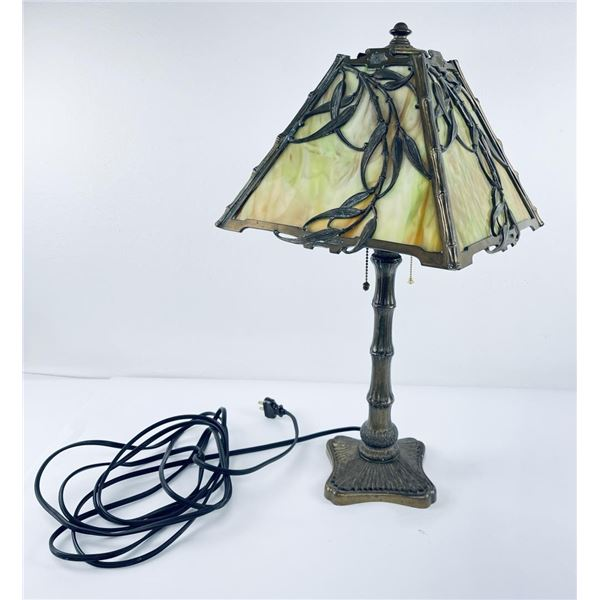 Vintage Slag Stained Glass Bamboo Pattern Lamp