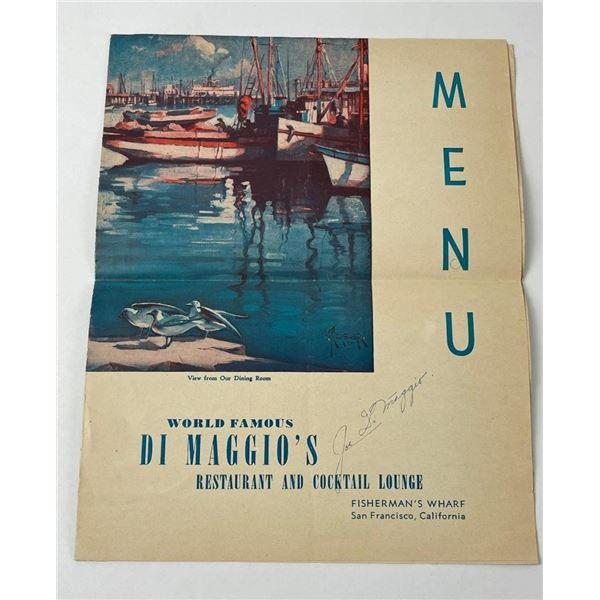 Joe DiMaggio Restaurant Menu SF California Signed