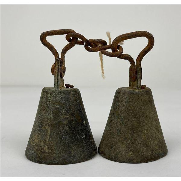 Antique Bronze Bells w/ Religious Christian Cross