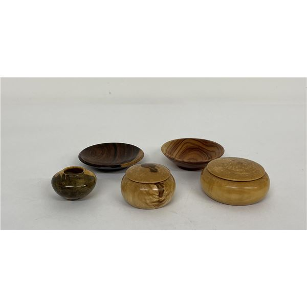 Miniature Turned Exotic Wood Dishes and Boxes
