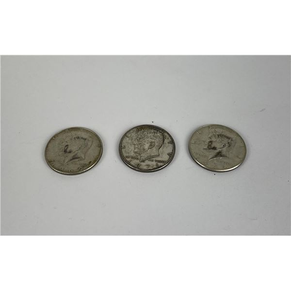 Lot of  3 Kennedy Silver Half Dollars