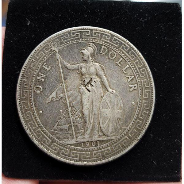 Great Britain UK 1907 Chinese Silver Trade Dollar