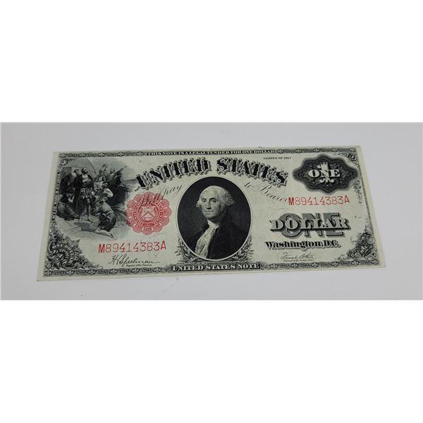 $1 1917 Red Seal Sawhorse Mule Note Bill