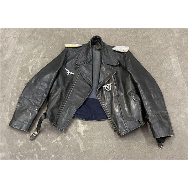 Leather Motorcycle Bikers Jacket 1950s Nazi Emblem