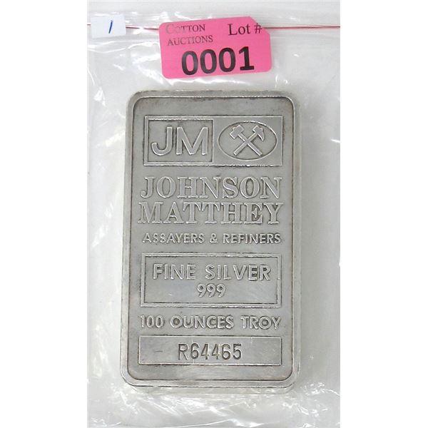 100 Oz. Johnson Matthey .999 Fine Silver Bar