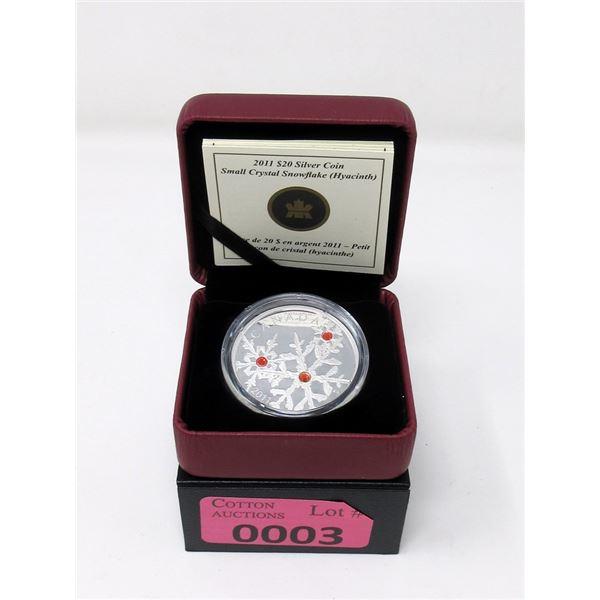 2011 Canada Fine Silver Crystal Snowflake Coin