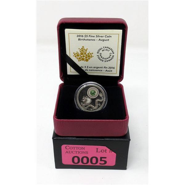 2016 Canada  Fine Silver August Birthstone Coin
