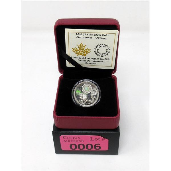 2016 Canada  Fine Silver October Birthstone Coin
