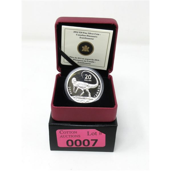 2014 Fine Silver Canadian $20 Dinosaur Coin