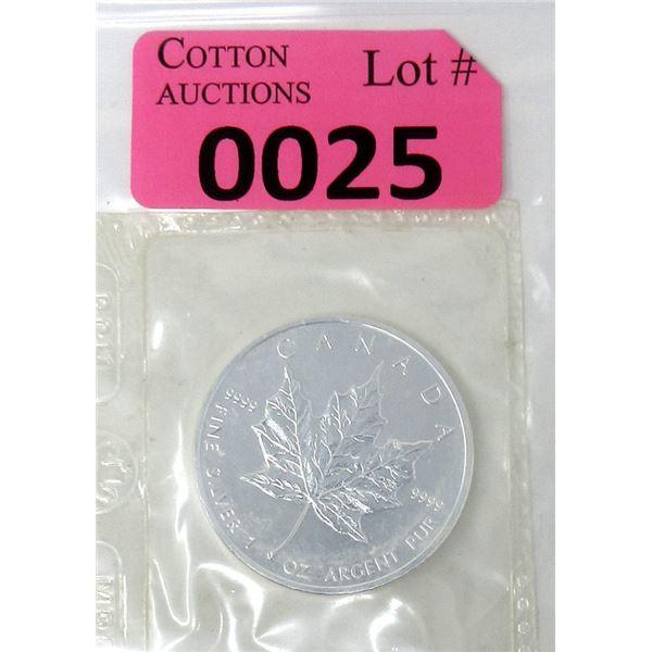 1 Oz .9999 Fine Silver 2004 Canada Maple Leaf Coin
