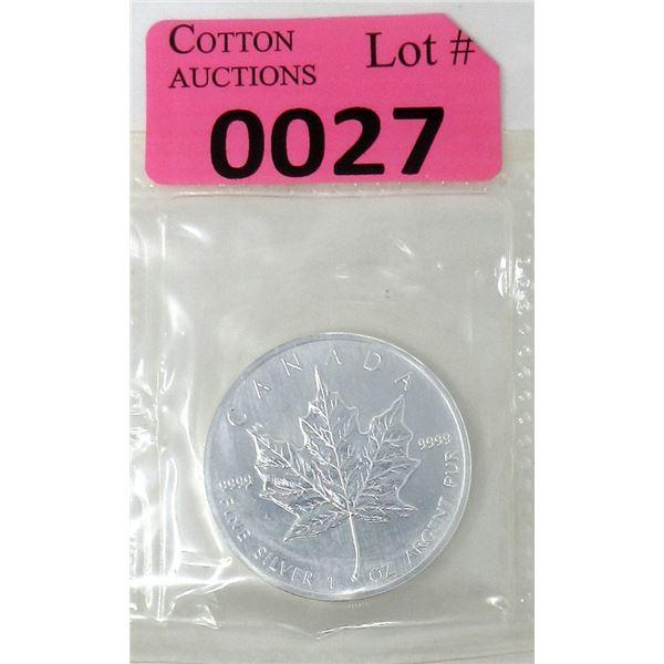 1 Oz .9999 Fine Silver 1990 Canada Maple Leaf Coin