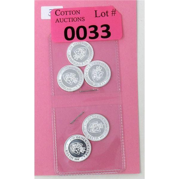Five 1/10 Oz .999 Fine Silver 2020 St. Helena Coins