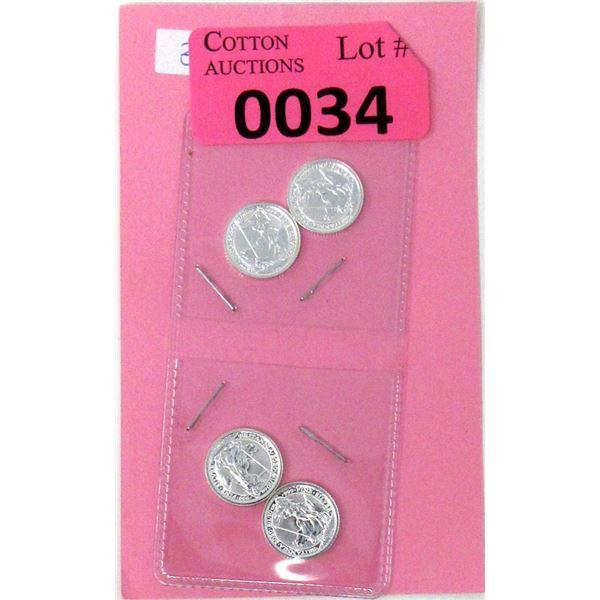 Four 1/10 Oz .999 Fine Silver 2020 Britannia Coins