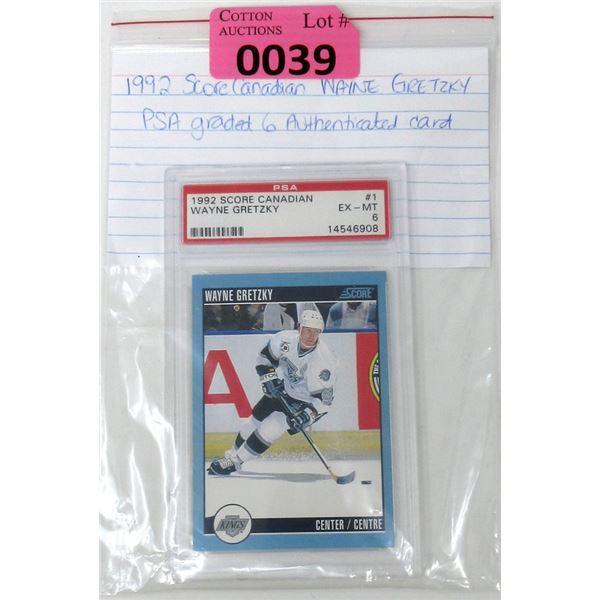 Graded 1992 Wayne Gretzky Score Canadian Card