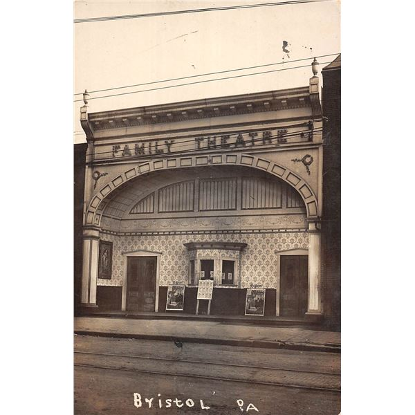 Family Theatre Bristol Pennsylvania Real Photo Postcard